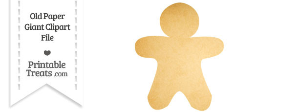 Old Paper Giant Gingerbread Cookie Clipart
