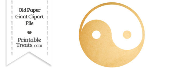 Old Paper Giant Yin Yang Symbol Clipart