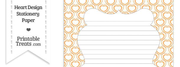 Orange Heart Design Stationery Paper