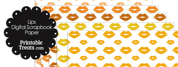 Orange Lips Digital Scrapbook Paper