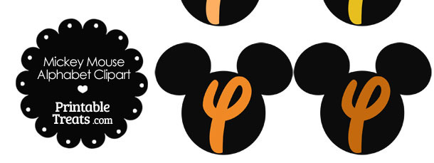 Orange Mickey Mouse Head Letter Y Clipart