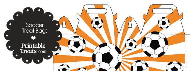 Orange Sunburst Soccer Party Treat Bags