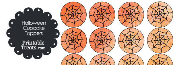 Orange Watercolor Spider Web Cupcake Toppers