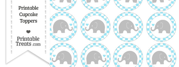 image about Free Elephant Printable known as Cost-free Pastel Aqua Blue Checker Routine Little one Elephant Cupcake