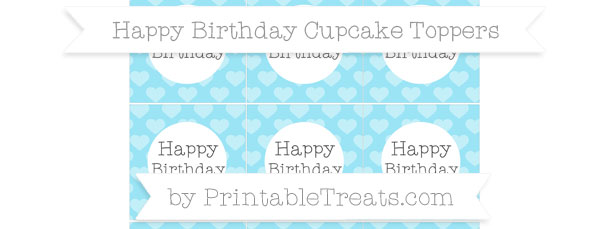 Pastel Aqua Blue Heart Pattern Happy Birthday Cupcake Toppers