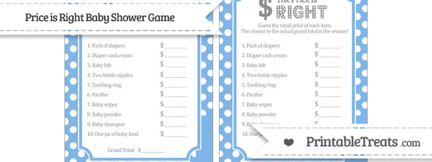 Pastel blue polka dot price is right baby shower game for Free printable price is right baby shower game template