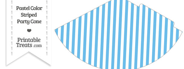 Pastel Blue Striped Party Cone