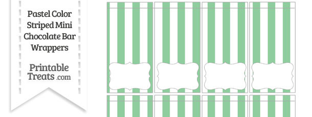 Pastel Green Striped Mini Chocolate Bar Wrappers