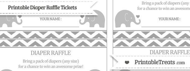 Free Pastel Grey Chevron Baby Elephant Diaper Raffle Tickets