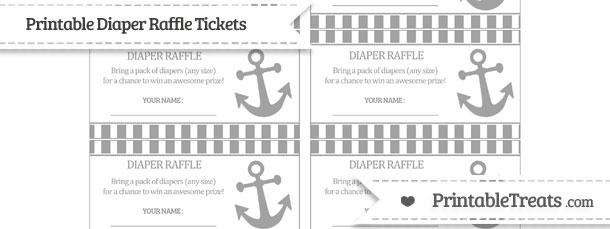 Free Pastel Grey Striped Nautical Diaper Raffle Tickets