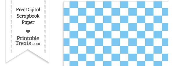Pastel Light Blue Checkered Pattern Digital Paper Printable Treats