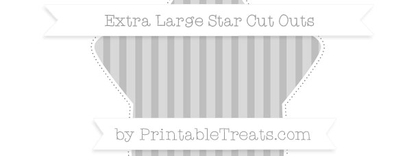 Pastel Light Grey Striped Extra Large Star Cut Outs