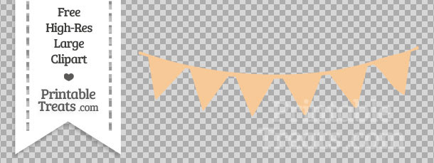Pastel Light Orange Pennant Bunting Banner Clipart Printable