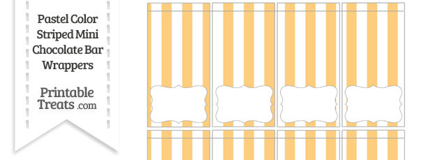 Pastel Light Orange Striped Mini Chocolate Bar Wrappers