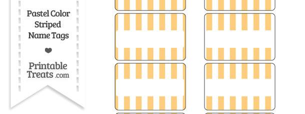 Pastel Light Orange Striped Name Tags