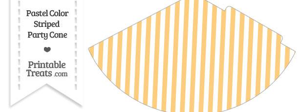 Pastel Light Orange Striped Party Cone