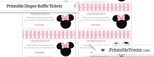 free pastel light pink striped minnie mouse diaper raffle tickets
