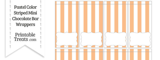 Pastel Orange Striped Mini Chocolate Bar Wrappers