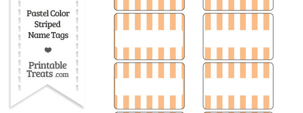 Pastel Orange Striped Name Tags