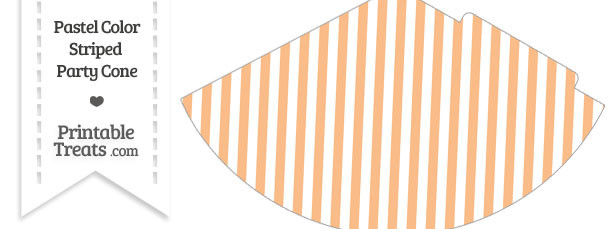 Pastel Orange Striped Party Cone