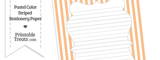 Pastel Orange Striped Stationery Paper