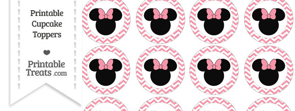 Free Pastel Pink Chevron Minnie Mouse Cupcake Toppers