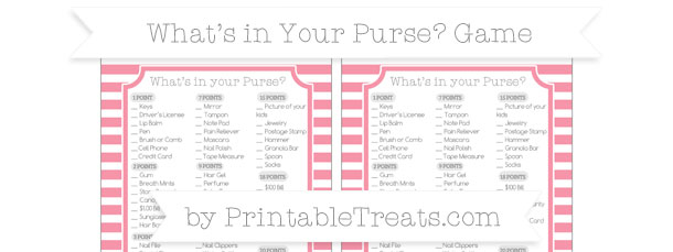 Pastel Pink Horizontal Striped Whats In Your Purse Baby Shower Game