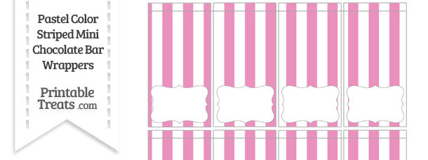 Pastel Pink Striped Mini Chocolate Bar Wrappers