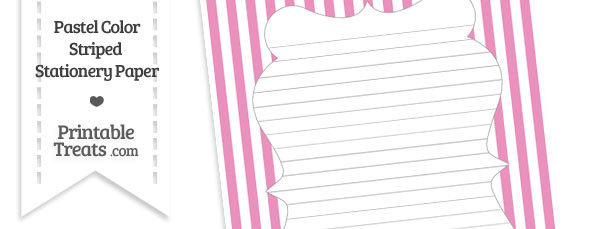 Pastel Pink Striped Stationery Paper