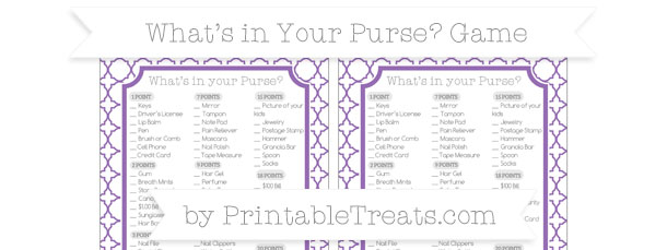 Pastel Plum Quatrefoil Pattern Whats In Your Purse Baby Shower Game