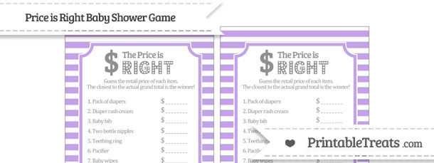 Pastel Purple Horizontal Striped Price Is Right Baby Shower Game