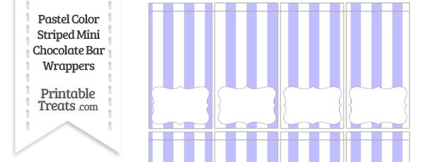 Pastel Purple Striped Mini Chocolate Bar Wrappers