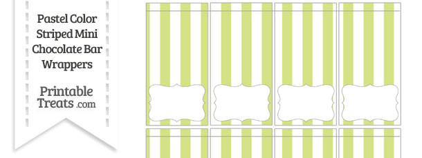 Pastel Yellow Green Striped Mini Chocolate Bar Wrappers