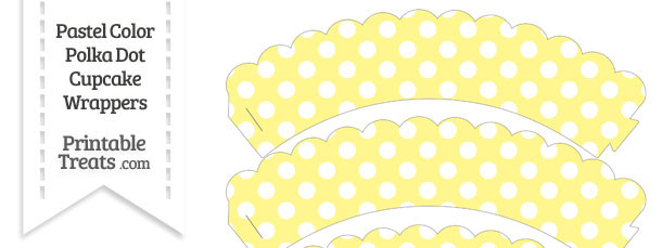 View Yellow Polka Dots Cupcake Wrappers Printable Image