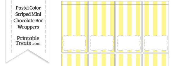 Pastel Yellow Striped Mini Chocolate Bar Wrappers