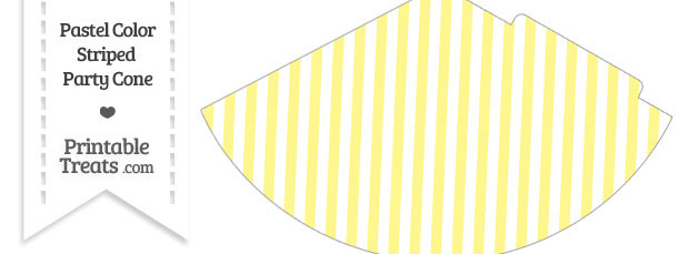Pastel Yellow Striped Party Cone