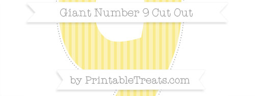 giant cupcake liner template - pastel yellow thin striped pattern giant number 9 cut out