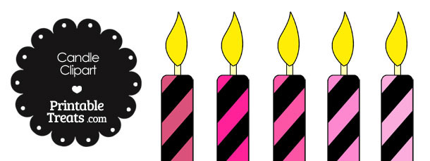 Pink and Black Candle Clipart