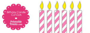 Pink and White Birthday Candle Cut Outs from PrintableTreats.com