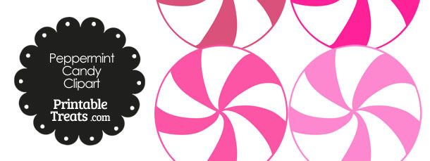 Pink and White Peppermint Candy Clipart