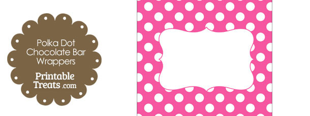 Pink and White Polka Dot Chocolate Bar Wrappers