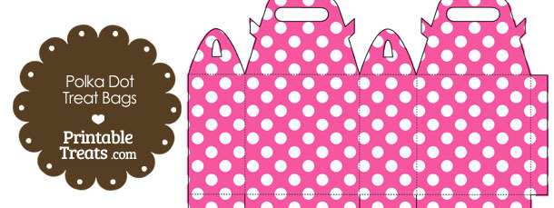 Pink and White Polka Dot Treat Bags to Print