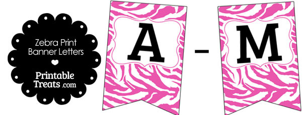 free pink and white zebra print bunting banner