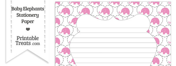 Pink Baby Elephants Stationery Paper