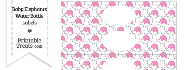 Pink Baby Elephants Water Bottle Wrappers