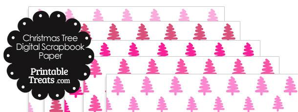 Pink Christmas Tree Digital Scrapbook Paper