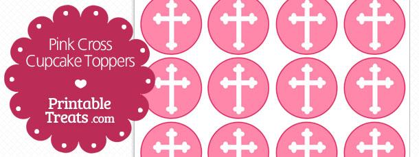 Pink Cross Cupcake Toppers Printable Treats Com