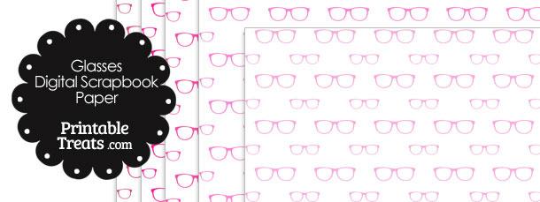 Pink Glasses Digital Scrapbook Paper