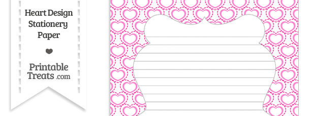 Pink Heart Design Stationery Paper