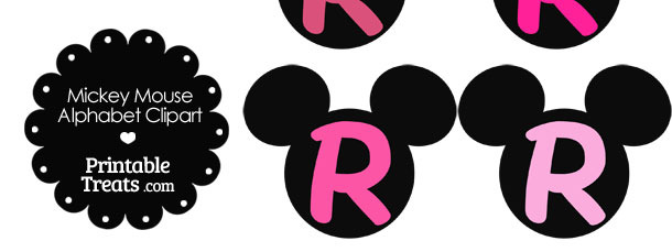 Pink Mickey Mouse Head Letter R Clipart